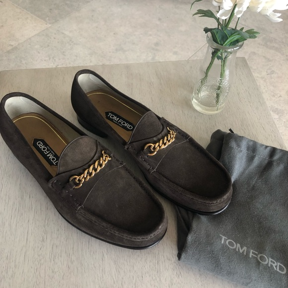 Tom Ford Suede York Chain Loafers
